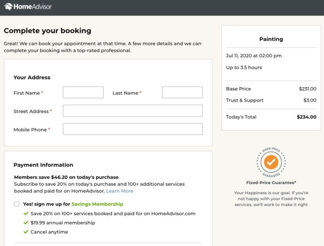 HomeAdvisor fixed price services offer along with information about the HomeAdvisor Savings Members subscription