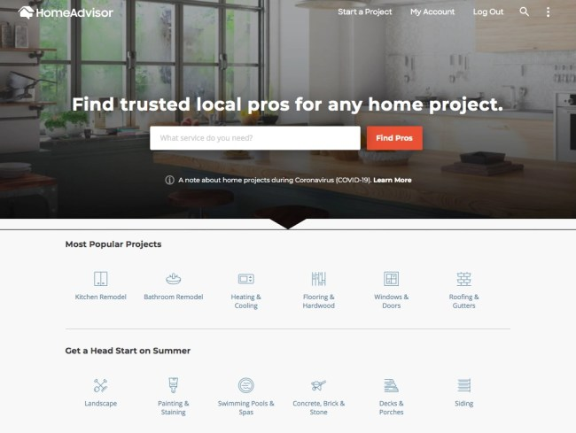HomeAdvisor website's home screen displaying the ProFinder search bar and popular projects