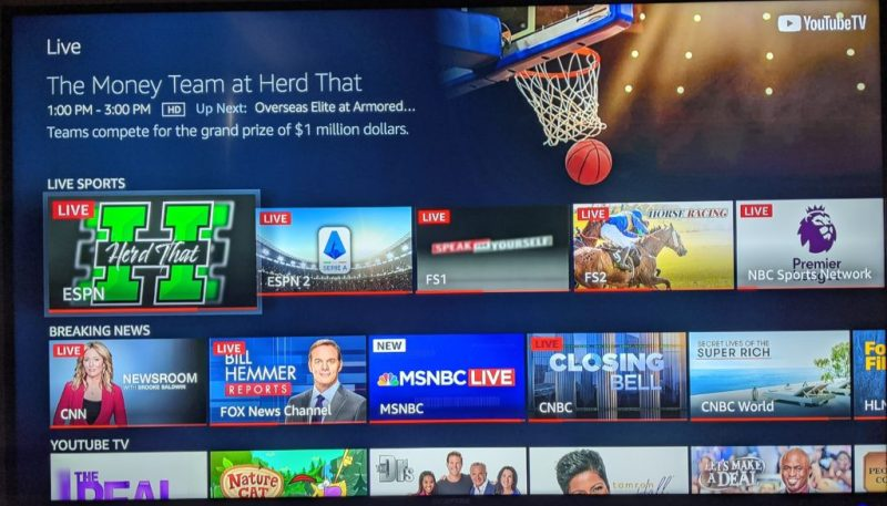 YouTube TV allows you to browse live broadcasts by categories like sports and news.
