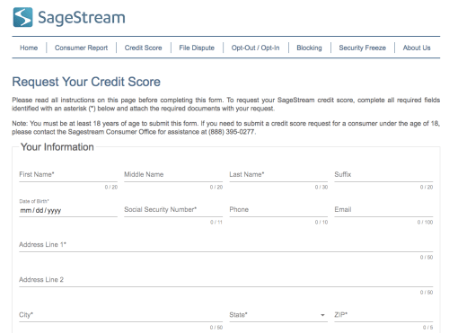 SageStream Credit Score request