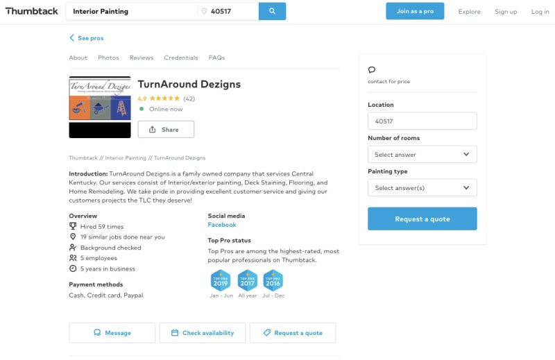 A company page on Thumbtack showing a brief description, overview, qualifications, reviews and more
