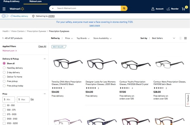 Frames available online at Walmart Vision Center filtered by those sold directly from walmart.com