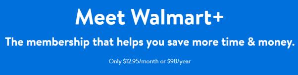 Walmart+ membership pricing per month and per year.