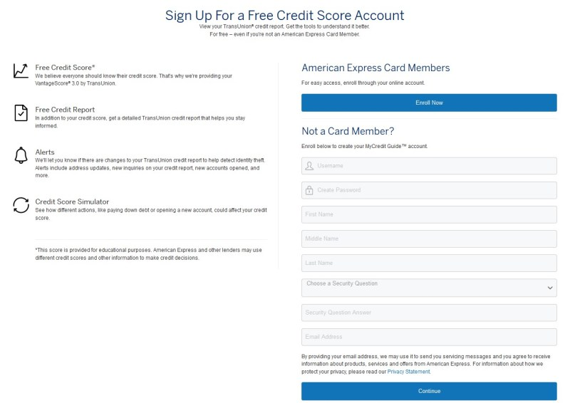 The signup process for Amex Score Goals is just one page for non card members.