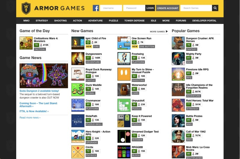 Armor Games homepage