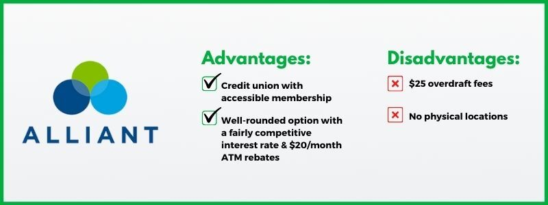 Alliant Credit Union is a free, accessible checking account option.