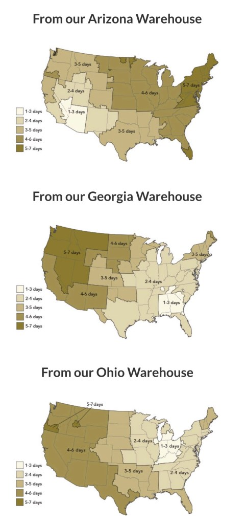 Discount Tire Direct shipping times based on warehouses in Arizona, Georgia and Ohio