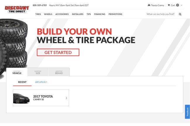 Discount Tire Direct homepage featuring a search bar allowing users to browse by vehicle