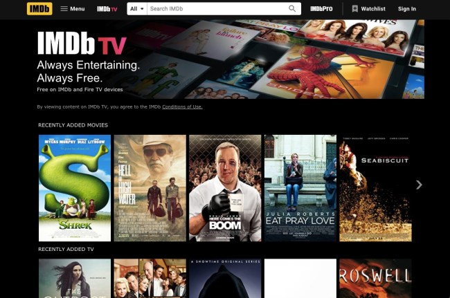 IMDb TV home screen featuring free online movies