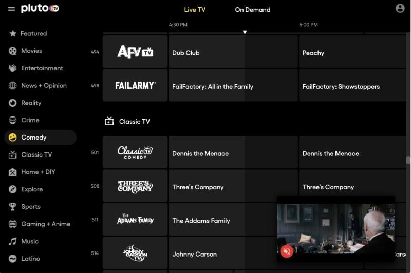 Pluto TV Live TV channel guide