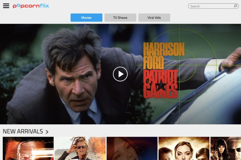 Popcornflix homescreen featuring free online movies