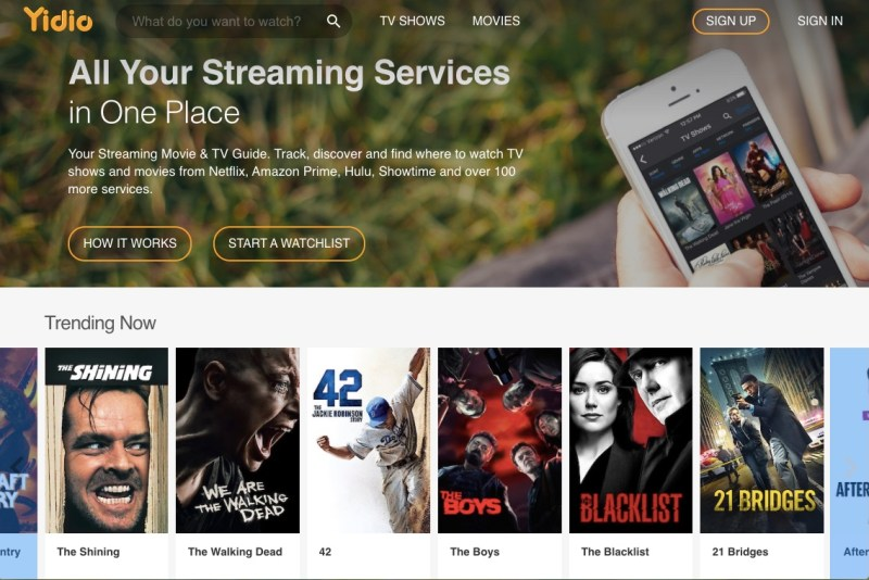 Yidio Homescreen featuring free online movies