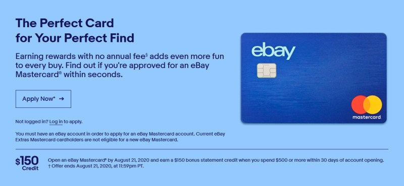 eBay is offered $150 as a welcome bonus on its credit card for a limited time.