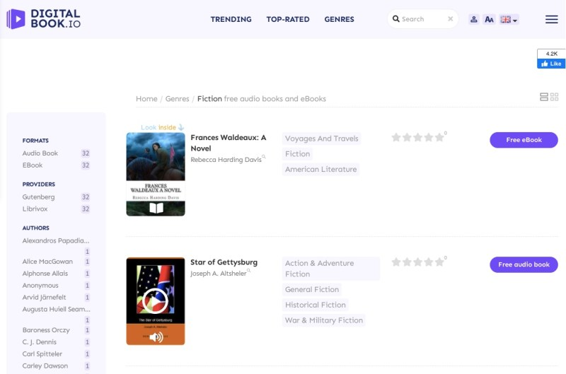 Digitalbook free audiobooks webpage