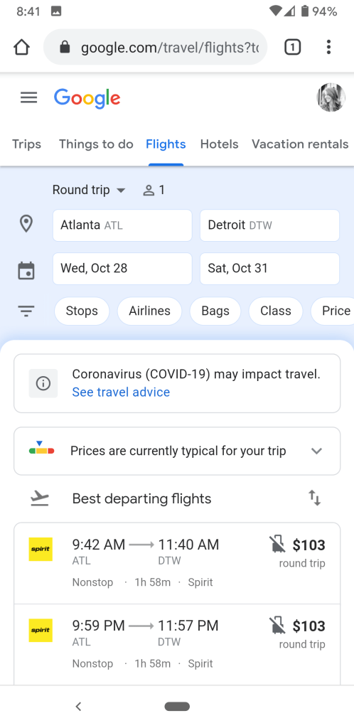 Google Flights with COVID19 travel link