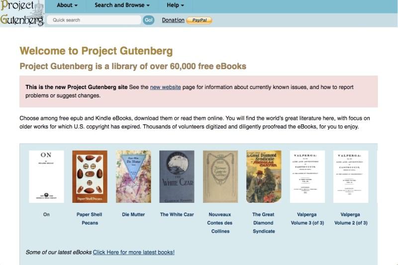 Project Gutenberg website homepage