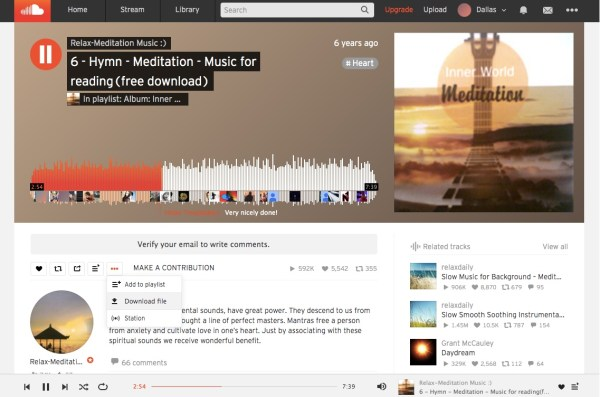 SoundCloud homepage featuring free downloadable music