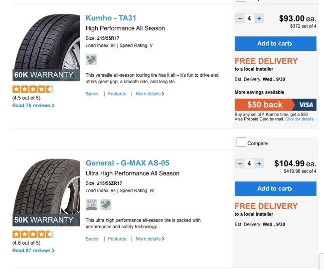 Warranty banners on select tires at TireBuyer.com