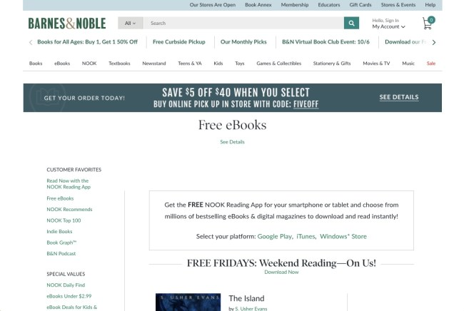 Barnes & Noble free ebooks online