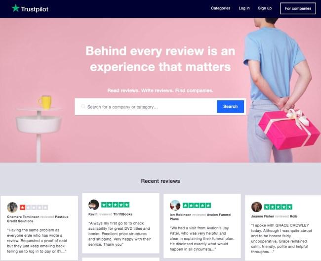 Trustpilot homepage