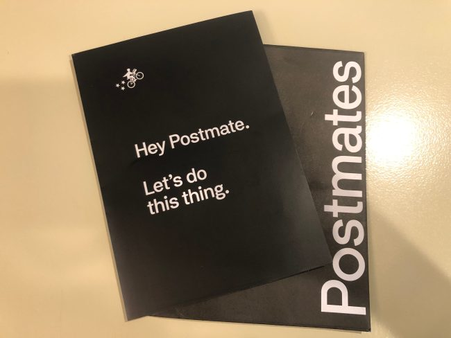 Postmates Welcome Kit including a prepaid card