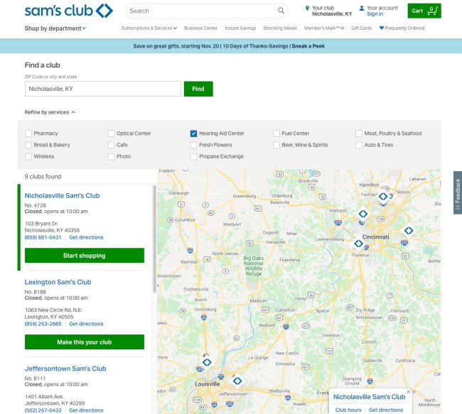Sam's Club hearing aids center locator