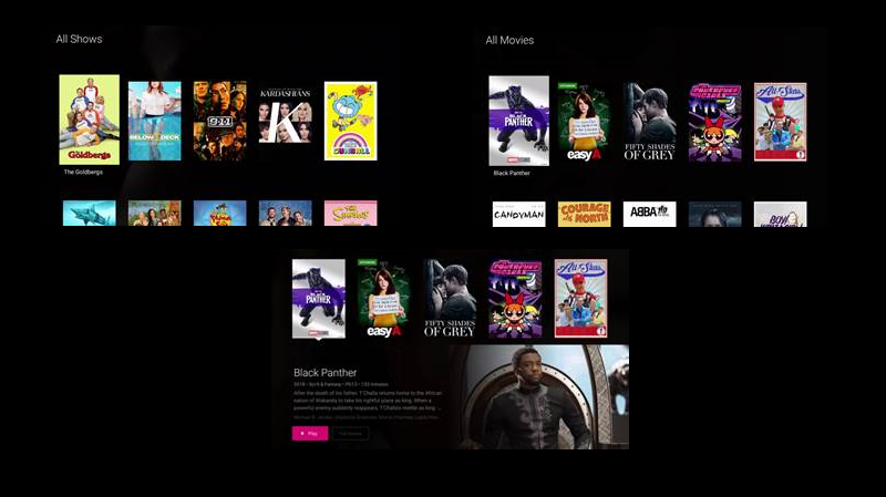 TVision Shows and Movies Tabs