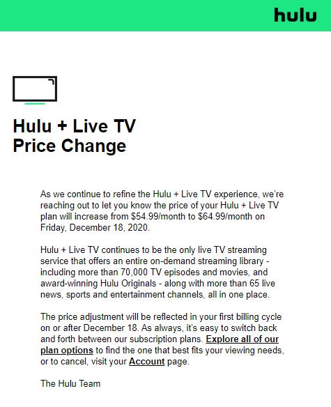 Hulu+ Live TV price hike