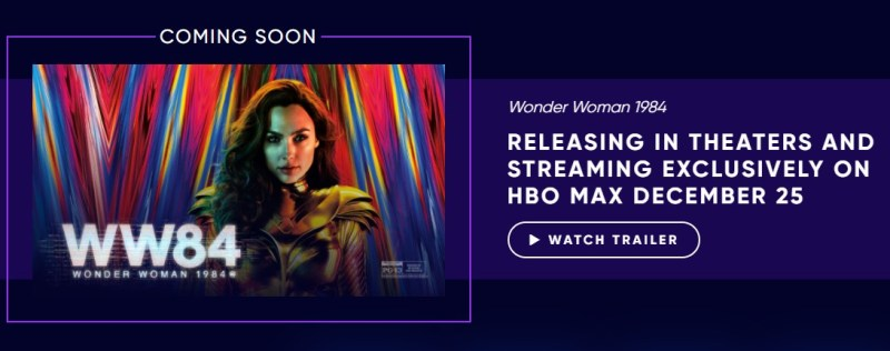 HBO Max will feature Wonder Woman 1984 on Christmas Day.