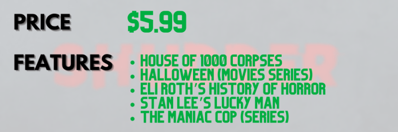 Shudder logo blurred behind text describing the streaming service's price and show features