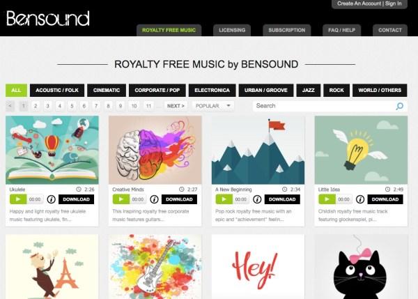 Bensound royalty-free music website screenshot