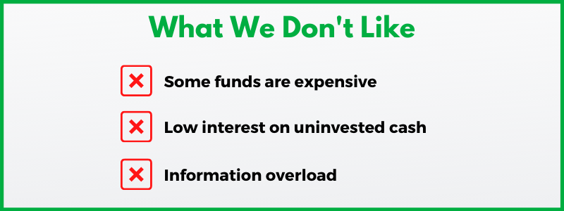 Fidelity Investments pays low interest on uninvested cash and offers some funds with high expense ratios.