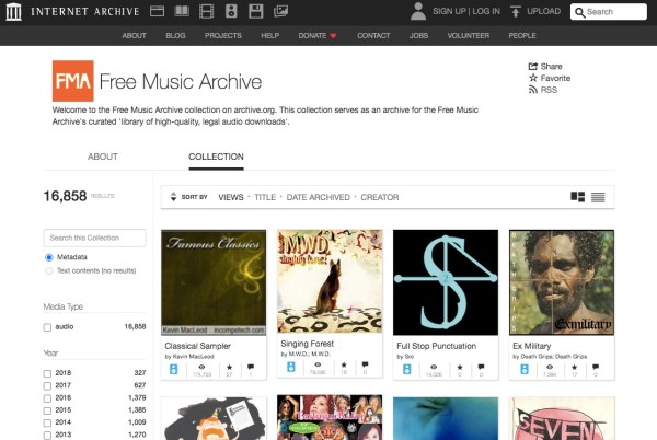 Free music archive royalty-free music website screenshot