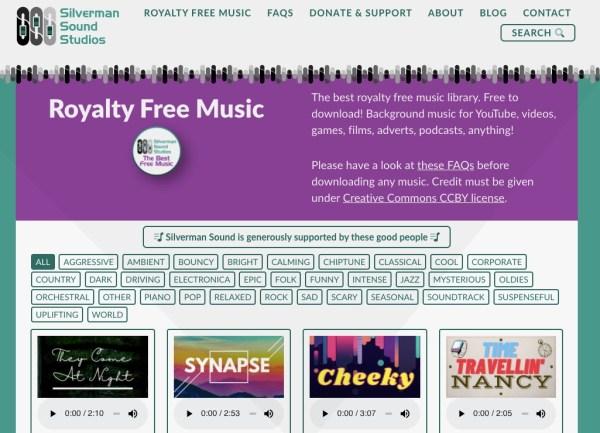 Silverman Sound Studios royalty-free music website screenshot