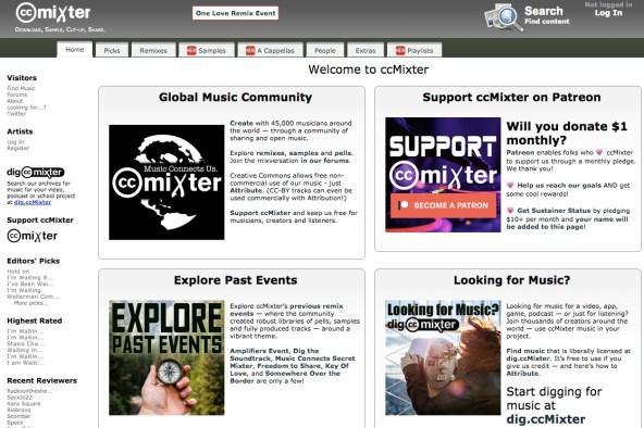 ccMixter royalty-free music website screenshot