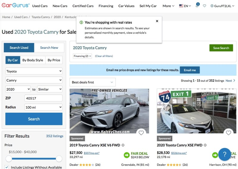 Shopping with real rates on CarGurus after pre-qualifying