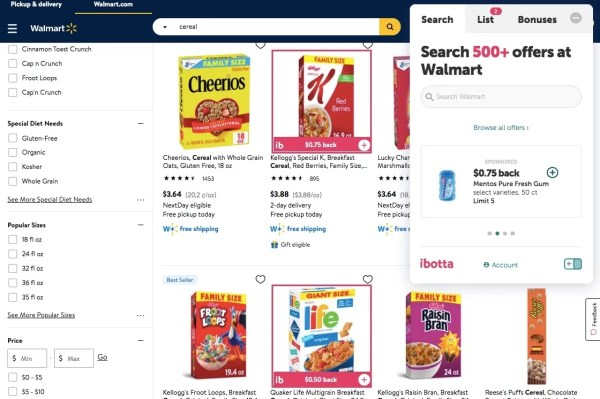 Ibotta's browser extension shown on Walmart.com with qualifying offers