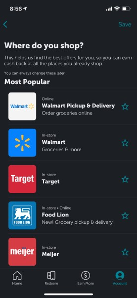 Popular retailers that offer cash back with Ibotta including Walmart, Target, Food Lion and Meijer