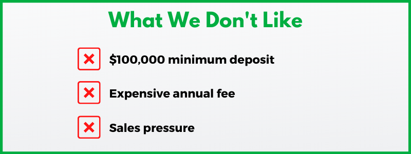 Personal Capital review: With a $100,000 minimum and a 0.89% annual fee, Personal Capital can be considered expensive.