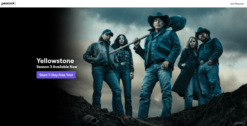 Peacock is the on-demand streaming home for Yellowstone.
