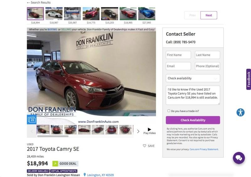 Car details on Cars.com