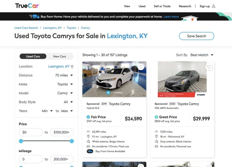 TrueCar search results for a Toyota Camry
