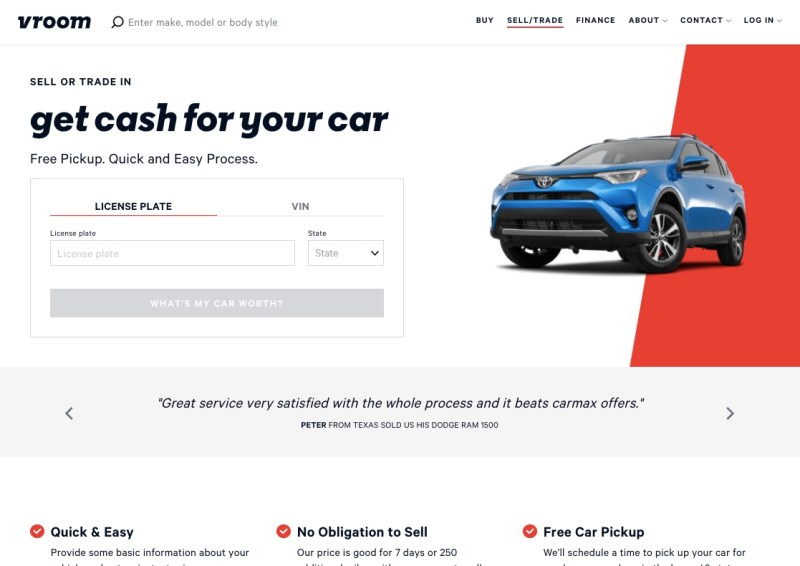 selling your car through Vroom