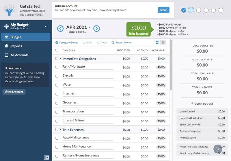 YNAB (You Need a Budget) homepage with a pre-loaded budget