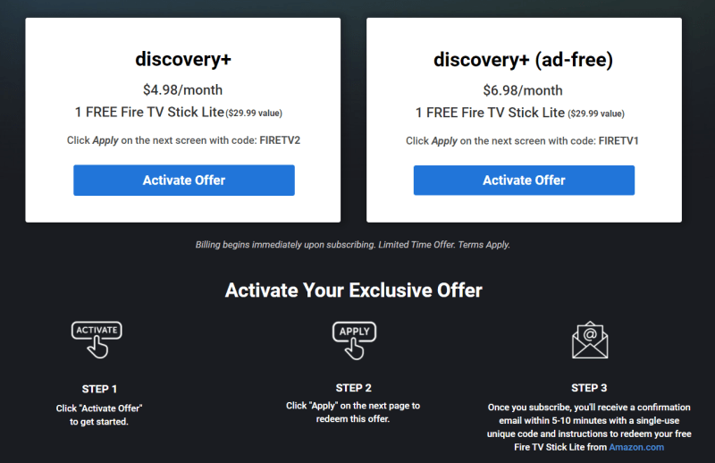 How to claim the Discovery + Amazon Fire TV Stick Lite offer.
