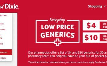 $4 prescriptions at Winn Dixie pharmacies