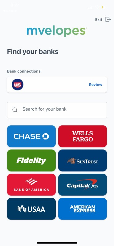 Mvelopes app: linking your financial institution