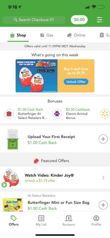 Offers available on the Checkout 51 app