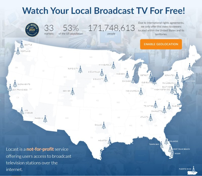 Locast coverage map