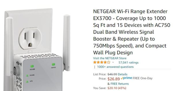 Netgear Range extender Amazon Prime price